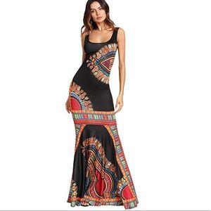 Black Mermaid Tail Bodycon Maxy Dress